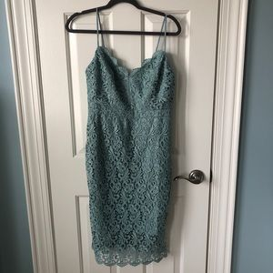 NWOT- J.Crew Lace Mid-Length Dress Mint green/blue